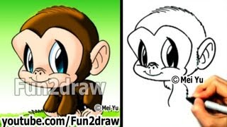 getlinkyoutube.com-Chimpanzee - How to Draw a Monkey - Draw Animals - Cute Art - Fun2draw