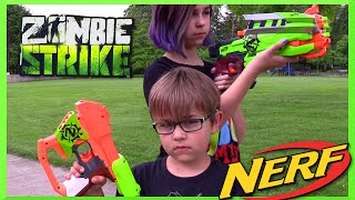 getlinkyoutube.com-NERF Zombie Strike RIPSHOT Disc Gun Review and Kids Fun Outside Park Play