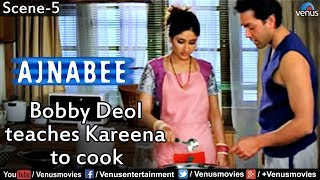 getlinkyoutube.com-Bobby Deol Teaches Kareena to Cook (Ajnabee)