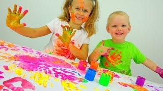 getlinkyoutube.com-Играем вместе: ПАЛЬЧИКОВЫЕ КРАСКИ.  Развитие ребенка и Детское творчество. Дочки Матери
