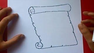 getlinkyoutube.com-Como dibujar un pergamino paso a paso 2 | How to draw a scroll 2