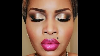 getlinkyoutube.com-Smoked out Pale Gold Eyes & Bold Pink Lips