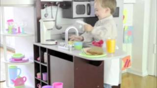 KidKraft Junior Chefu0027s Play Kitchen With Stools Exclusively At One Step  Ahead   YouTube