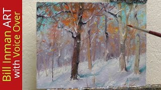 getlinkyoutube.com-How to Paint Snow and Trees Oil Painting - Sledding Hill by Bill Inman Fast Motion w Instruction