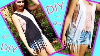 getlinkyoutube.com-DIY Clothes ♥ Fringe Vest From T-Shirt ♥ For Summer!