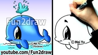 Easy Fun Things to Draw - How to Draw a Whale - Cute Drawings - Fun2draw