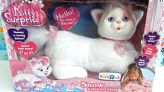 getlinkyoutube.com-Kitty Surprise Snow Toy Plush Cat - How Many Kittens Will She Have?