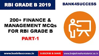 MCQs On Finance and Management for RBI GRADE B Part - 1