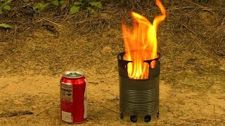 getlinkyoutube.com-How to Make a Compact Wood Gas Stove Just from Cans.  Efficient Portable DIY Wood Gas Camping Stove.