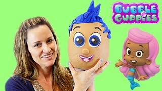 getlinkyoutube.com-OPENING Giant Surprise Egg Bubble Guppies Play Doh Gil - Kinder Barbie Disney Princess Hello Kitty