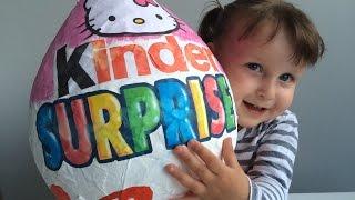 getlinkyoutube.com-Открываем гигантский Киндер сюрприз Хелло Китти, яйца с сюрпризом игрушки surprise balls toys