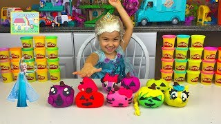 getlinkyoutube.com-HALLOWEEN PLAYDOH SURPRISE EGGS PUMPKIN FACES Doc McStuffins Disney Princess MyLittlePony Frozen Vid