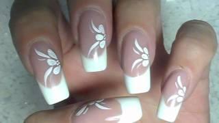 getlinkyoutube.com-NailArt Design Tutorial - weisse blumen mit acrylmalfarbe - flowers - very simple