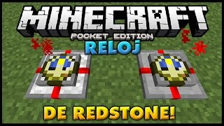 getlinkyoutube.com-RELOJ DE REDSTONE! - SUPER UTIL! - Tutorial! - Minecraft PE 0.15.0 (Pocket Edition)