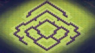 getlinkyoutube.com-Clash of Clans - TH7 Hybrid Base + Defense Clip (Dragonstooth) Anti Giants, Healer, Dragon, Balloon