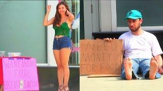 getlinkyoutube.com-Hot Girl VS Homeless Man! (Social Experiment)