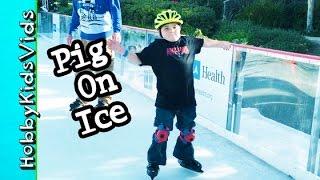 getlinkyoutube.com-HobbyPig's First Time ICE SKATING! Falls, Slippery Fun w/HobbyBear Too by HobbyKidsTV