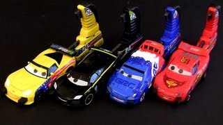getlinkyoutube.com-Cars 2 Porto Corsa Launching Set 4 Racers w/ Launchers Disney Pixar 2013 crash buildable toys