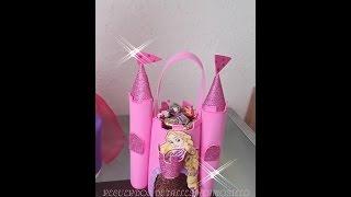 getlinkyoutube.com-DIY como hacer  dulcero de princesa castillo  con Botella Pet