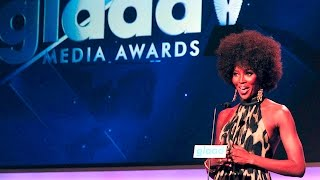 Naomi Campbell voices support for trans model Carmen Carrera at the #glaadawards