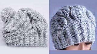 "getlinkyoutube.com-Вязание шапки спицами ""Листочки"". How to Knit a HAT"
