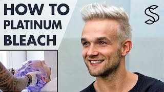 getlinkyoutube.com-Platinum blonde hair for men ★ how to bleach men's hair ★ Silver Fox hair