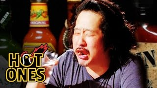 getlinkyoutube.com-Bobby Lee Has an Accident Eating Spicy Wings | Hot Ones
