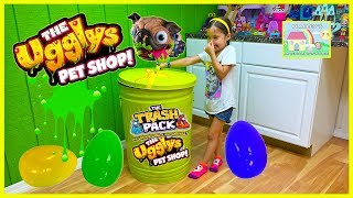 getlinkyoutube.com-WORLD'S BIGGEST SURPRISE EGG TRASH CAN Toy Surprises Ugglys Pets TrashPack Garbage Truck Toys Review