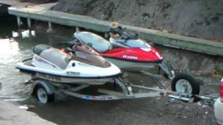 getlinkyoutube.com-Malibu Maxx pulling double PWC trailer up launch ramp (Georgian Bay)