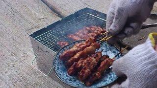 getlinkyoutube.com-【野外料理】NorthEagle折りたたみ串焼きBBQで「一人焼き鳥2」【男の酒のつまみ】