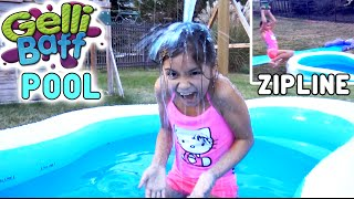 getlinkyoutube.com-GELLI BAFF Swimming Pool ZIPLINE and Slip n Slide Outdoor Fun