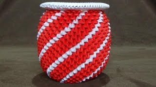 getlinkyoutube.com-How To Make a 3D Origami Red & White Spiral Vase