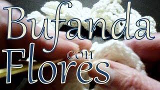 getlinkyoutube.com-Cómo tejer una bufanda con flores (crochet flower scarf lariat) -tejido para zurdos-