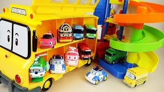 getlinkyoutube.com-Robocar Poli School bus and Parking Tower Pororo Tayo car toys play