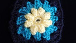 getlinkyoutube.com-Crochet : Motivo # 2.  Manta de Flores