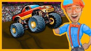 getlinkyoutube.com-Monster Trucks with Blippi Toys | Monster truck Song for Kids