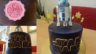getlinkyoutube.com-Star Wars R2D2 Torte/galaxy cake/R2D2 cake Topper/air brush/how to make by Sanny´s eSport Torten