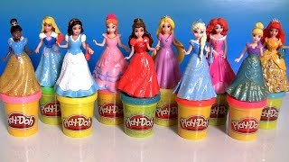 getlinkyoutube.com-10 Disney Princess MagiClip Collection Merida Belle Snow Ariel Elsa Anna Play Doh 12 Fashions