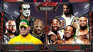 getlinkyoutube.com-WWE RAW 2K15 : Sting, John Cena & Dudley Boyz vs Seth Rollins & New Day - 31/08/2015 Guest Booker