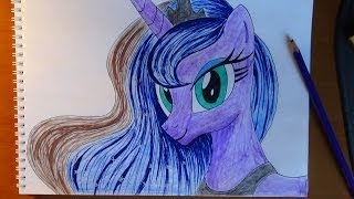 getlinkyoutube.com-How to draw Pony Princess Luna, Como dibujar pony princess Luna, Как нарисовать пони Принцесса Луна