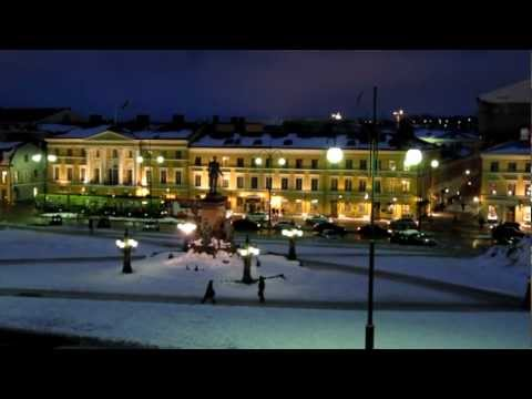 Night View of the Senate Square Covered with Snow - Helsinki Finland