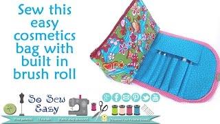 getlinkyoutube.com-Sew a cosmetics bag with brush roll