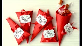 Ideas for Valentine's day!  Favor Cones.  Easy to do. Gift wrap