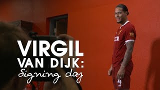 SIGNING-DAY-VLOG-Virgil-van-Dijks-first-day-at-Liverpool-From-the-Airport-to-Anfield width=