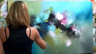 """getlinkyoutube.com-Démonstration de peinture abstraite (2) Elisabeth - Toile """"Pensée"""""""