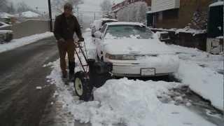 getlinkyoutube.com-Montgomery Wards Power Trac/Simplicity vintage walk behind tractor plowing snow