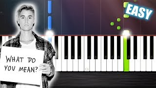 Justin Bieber - What Do You Mean - EASY Piano Tutorial by PlutaX - Synthesia
