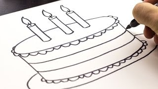 getlinkyoutube.com-How To Draw A Birthday Cake