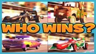 getlinkyoutube.com-Cars 2 The Game MIDNIGHT FRANCESCO vs MATERHOSEN vs RAMONE vs FRANCESCO 4 Player Race