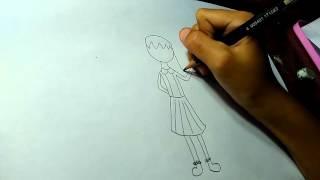 getlinkyoutube.com-Cara menggambar orang - Raiza Agni Khairunnisa
